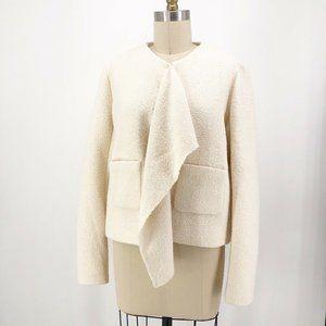 Maje Coat Off White Versatile Drape Front Jacket